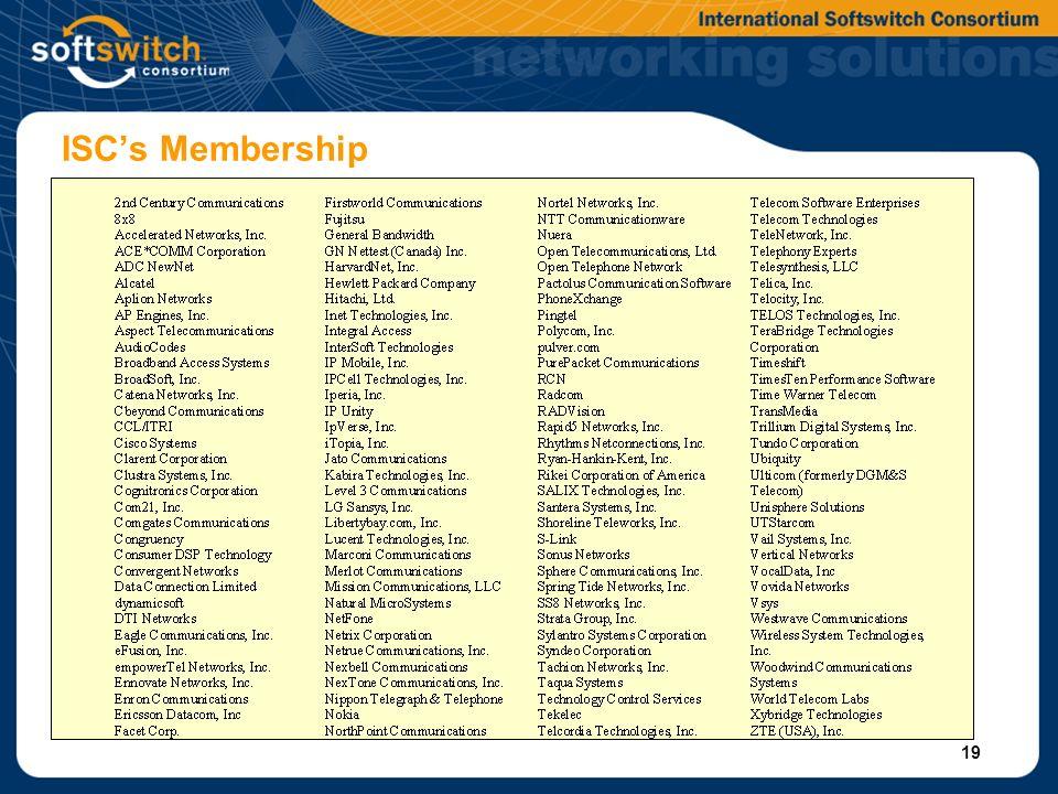 19 ISCs Membership