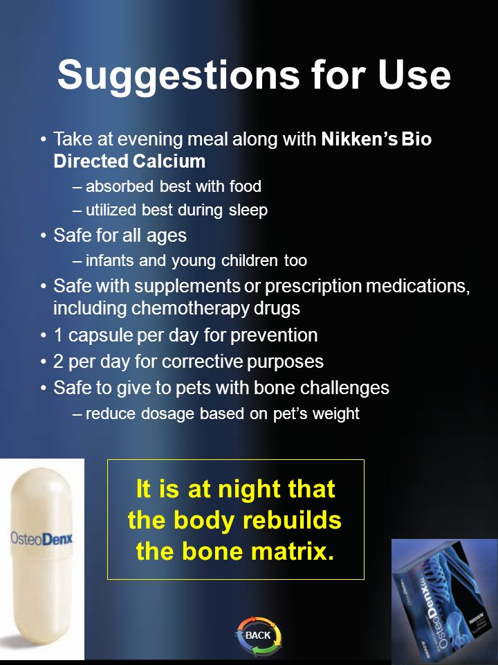 Suggestions for Use Take at evening meal along with Nikkens Bio Directed Calcium –absorbed best with food –utilized best during sleep Safe for all age