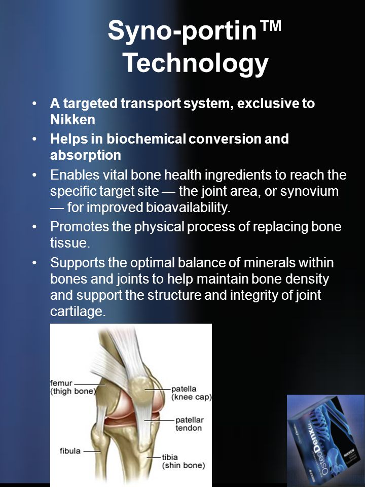 Syno-portin Technology A targeted transport system, exclusive to Nikken Helps in biochemical conversion and absorption Enables vital bone health ingre