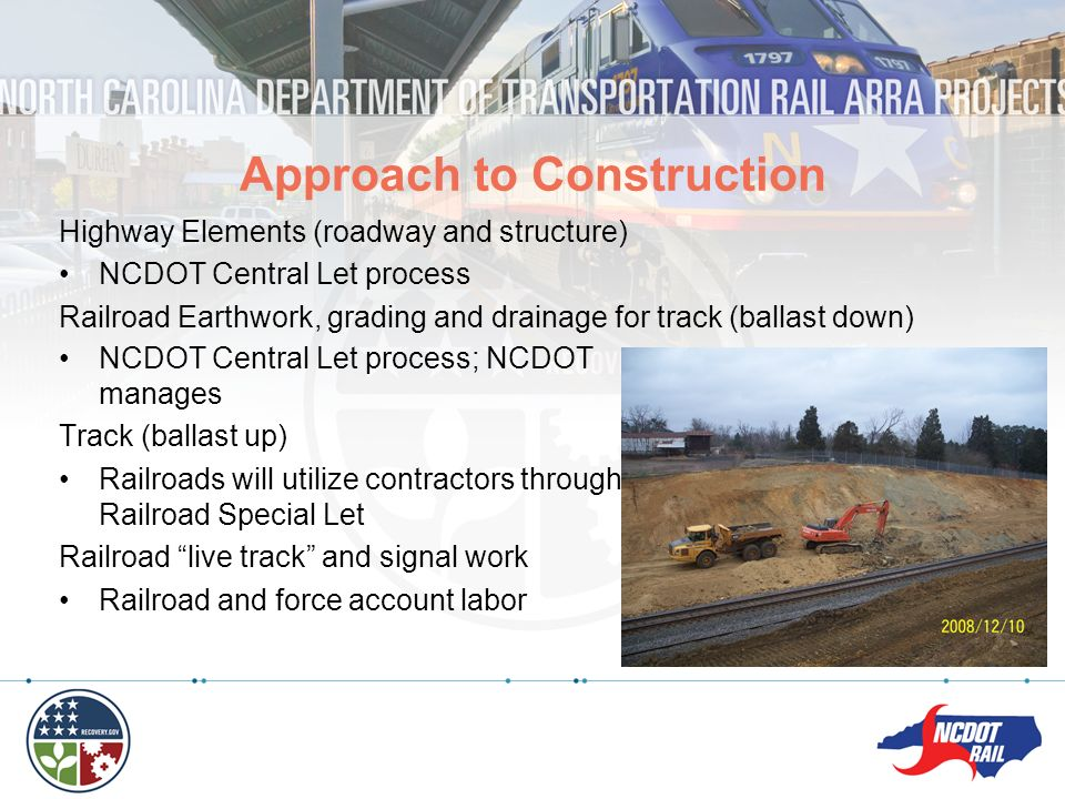 Highway Elements (roadway and structure) NCDOT Central Let process Railroad Earthwork, grading and drainage for track (ballast down) Approach to Const