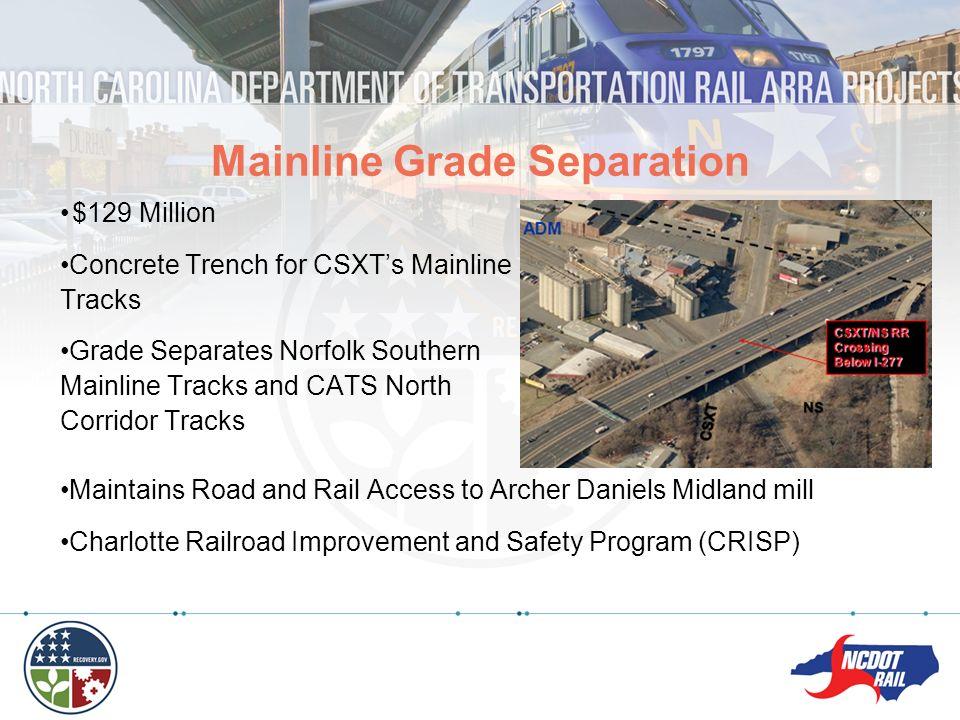 $129 Million Concrete Trench for CSXTs Mainline Tracks Grade Separates Norfolk Southern Mainline Tracks and CATS North Corridor Tracks Mainline Grade