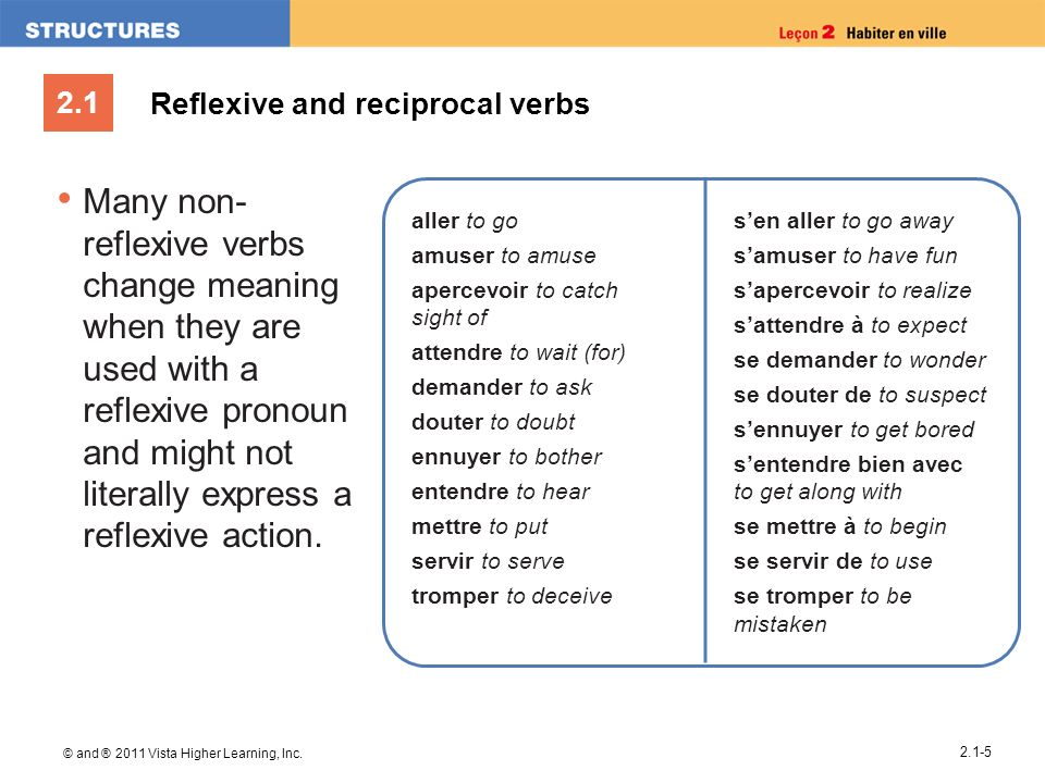 2.1 © and ® 2011 Vista Higher Learning, Inc. 2.1-5 Many non- reflexive verbs change meaning when they are used with a reflexive pronoun and might not