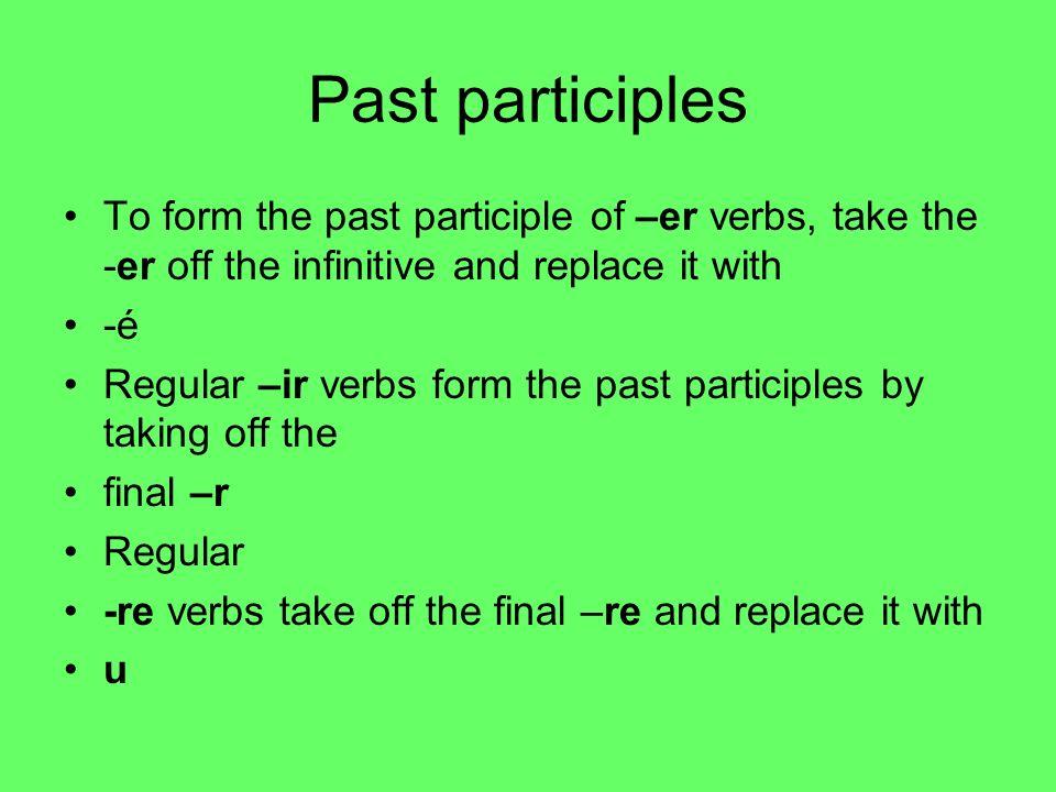 Irregular past participles Avoir = Eu Boire = Bu Lire = Lu Voir = vu