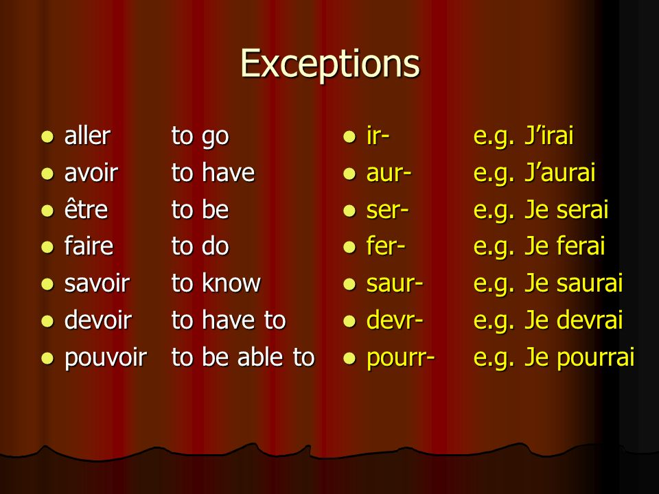 Exceptions to the rule! Although the endings stay the same, you need to learn different stems for some useful verbs. Although the endings stay the sam