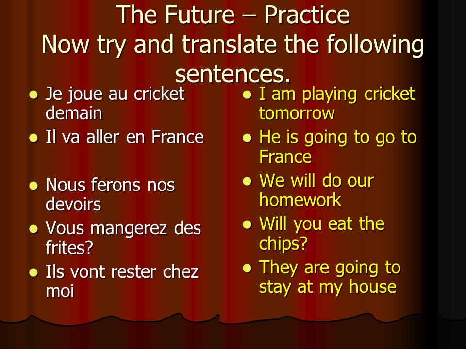 Practice – 2 Translate the following sentences I will win (gagner) I will win (gagner) You will dance You will dance He will finish He will finish She