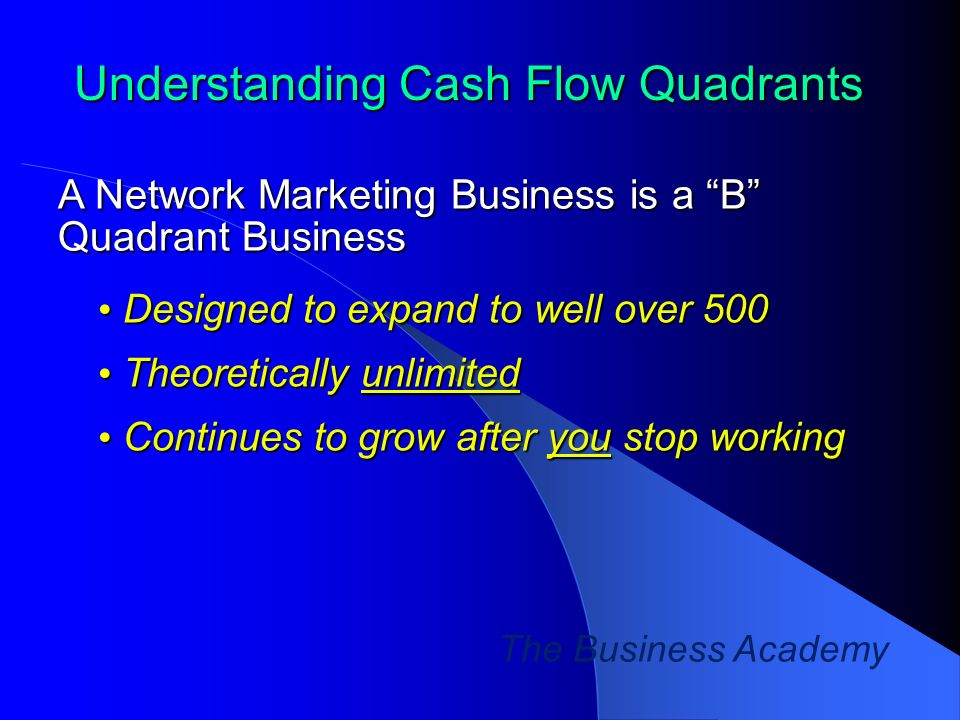 The Business Academy Understanding Cash Flow Quadrants A Network Marketing Business is a B Quadrant Business Designed to expand to well over 500 Designed to expand to well over 500 Theoretically unlimited Theoretically unlimited Continues to grow after you stop working Continues to grow after you stop working