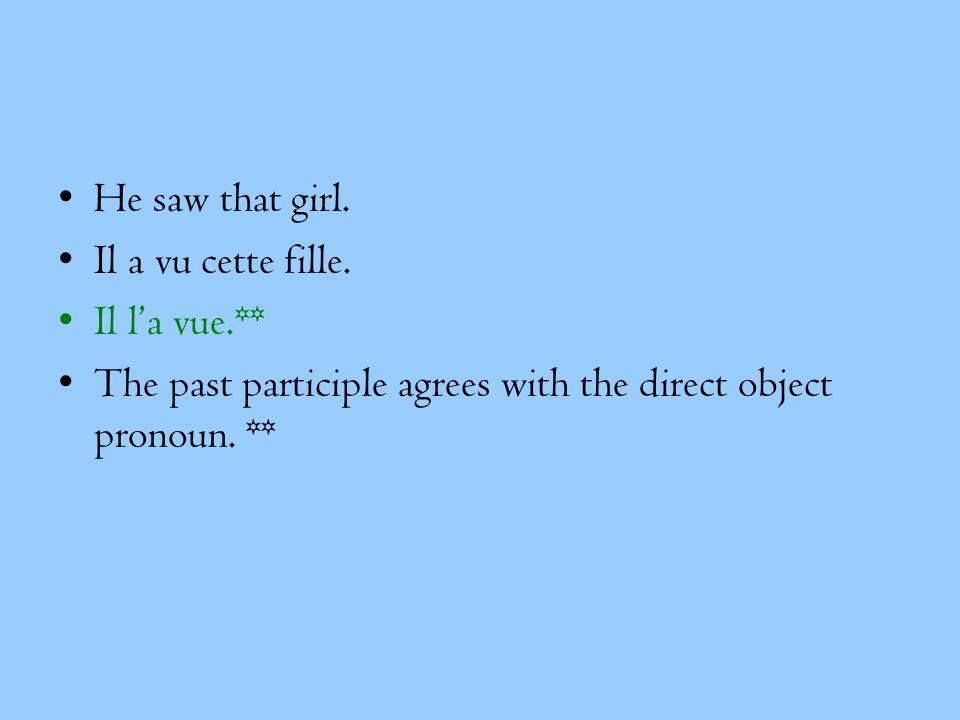 He saw that girl. Il a vu cette fille. Il la vue.** The past participle agrees with the direct object pronoun. **