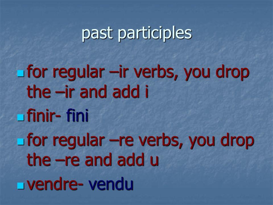 past participles for regular –ir verbs, you drop the –ir and add i for regular –ir verbs, you drop the –ir and add i finir- fini finir- fini for regul