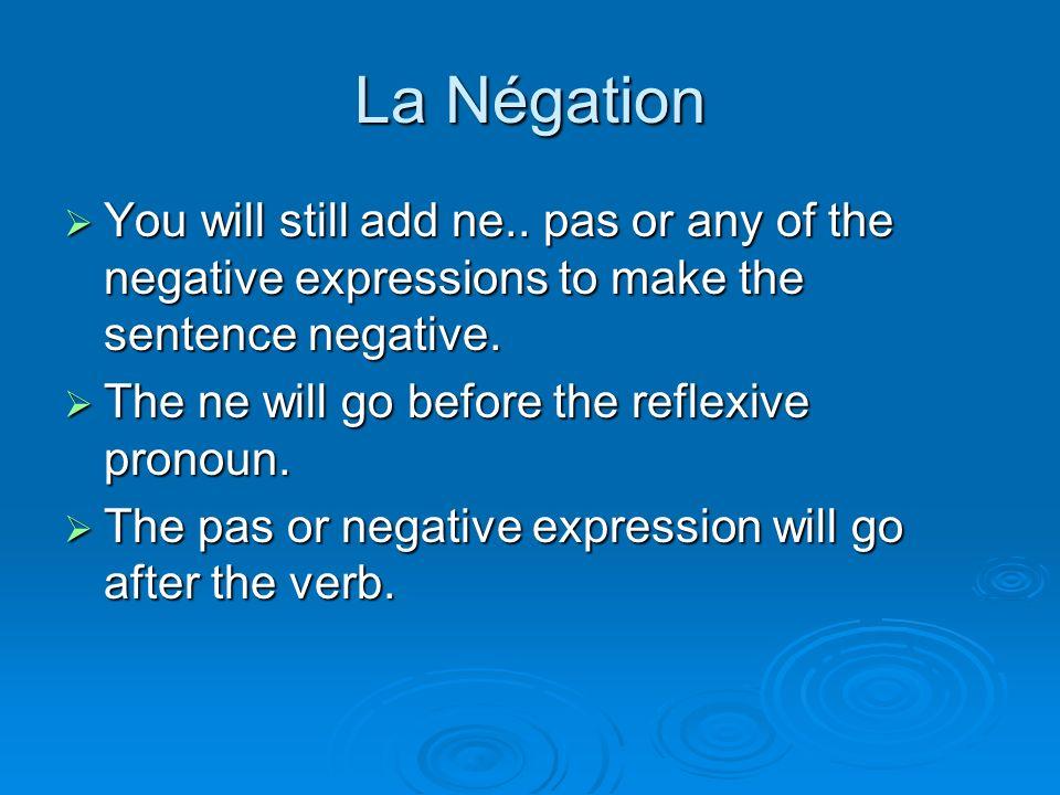 La Négation You will still add ne.. pas or any of the negative expressions to make the sentence negative. You will still add ne.. pas or any of the ne