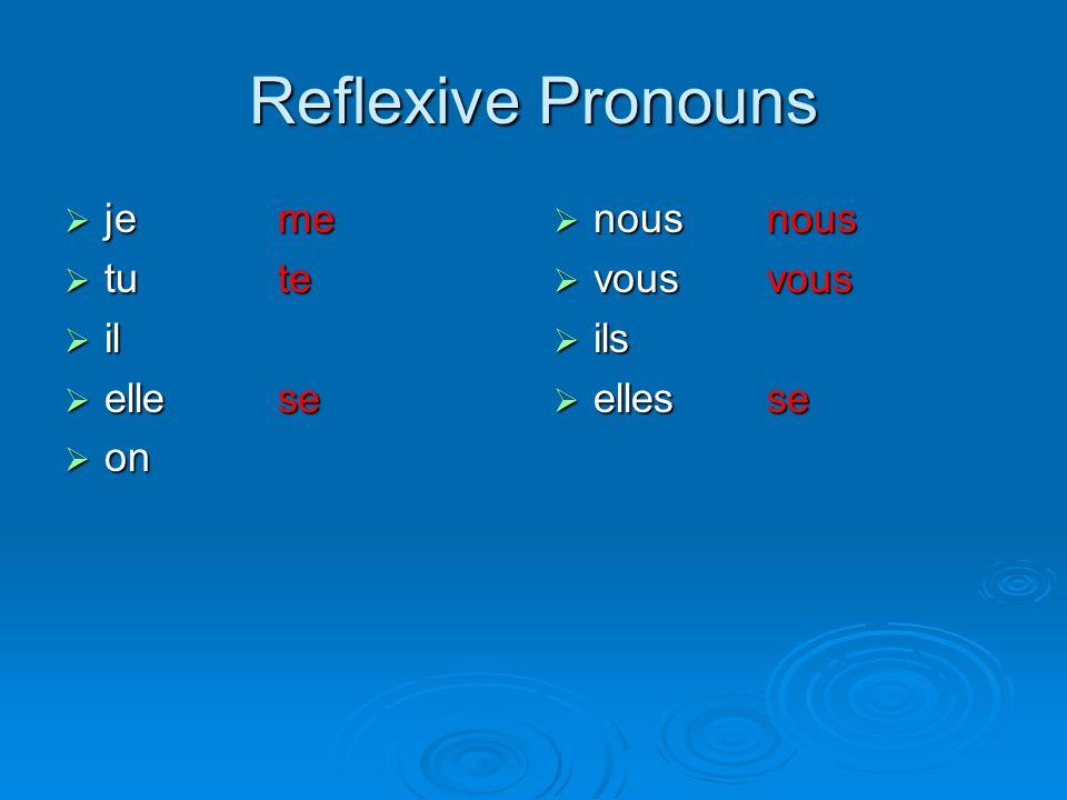 Reflexive Pronouns je jeme tu tute il il elle ellese on on nous nousnous vous vousvous ils ils elles ellesse
