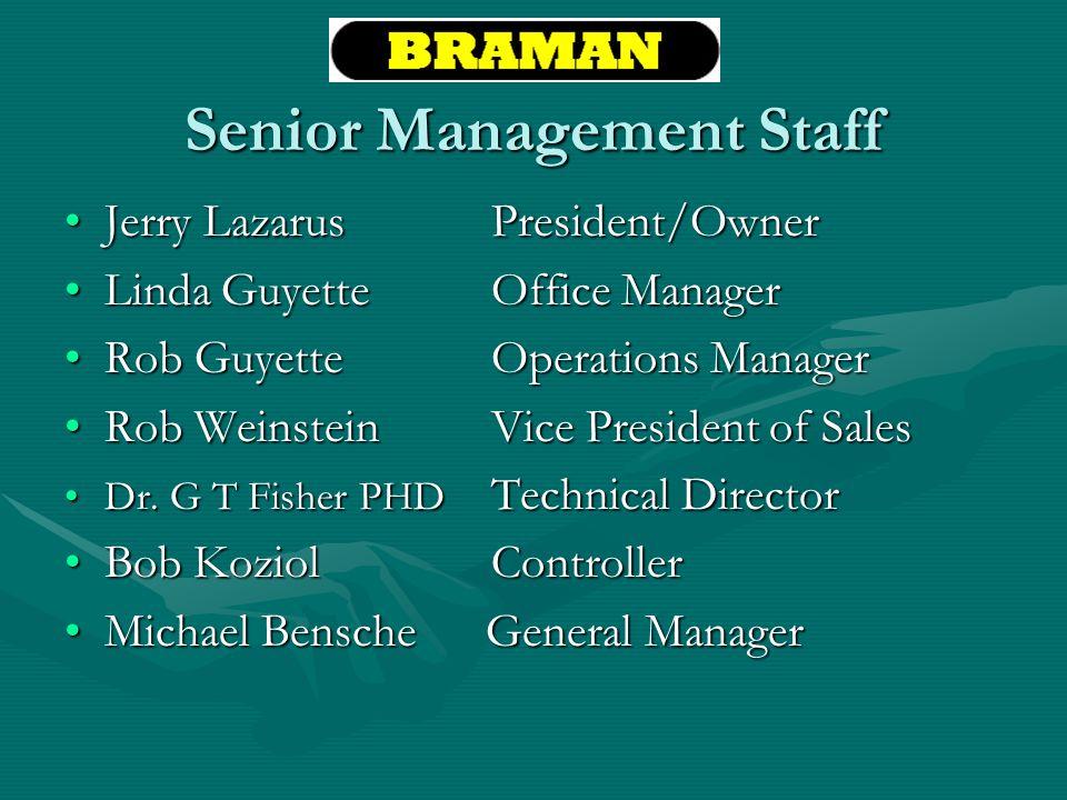Senior Management Staff Jerry LazarusPresident/OwnerJerry LazarusPresident/Owner Linda GuyetteOffice ManagerLinda GuyetteOffice Manager Rob GuyetteOpe
