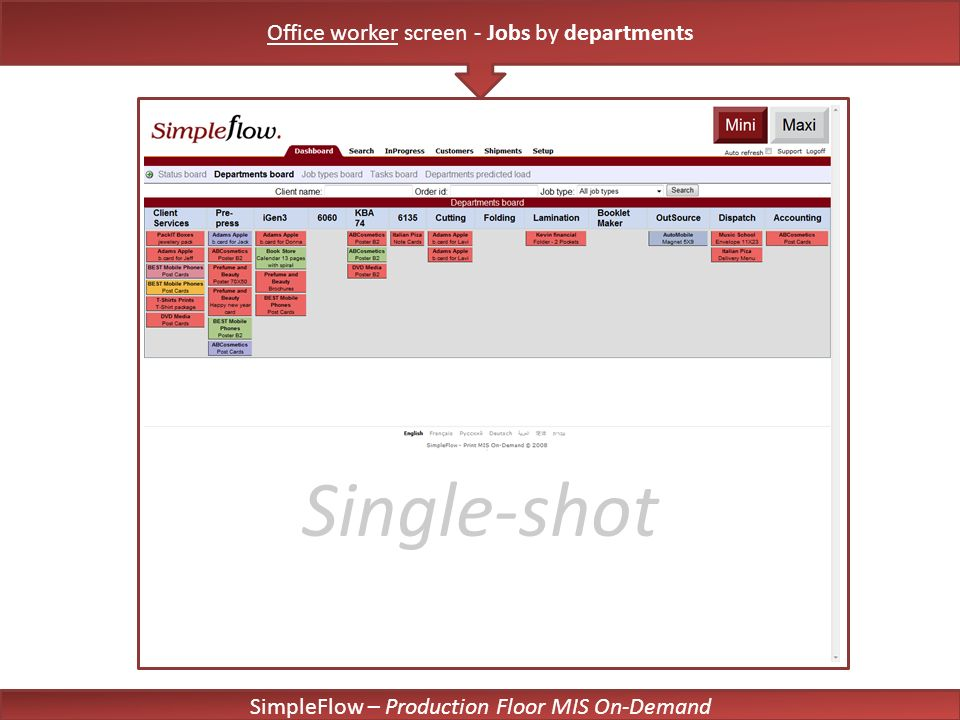 SimpleFlow – Production Floor MIS On-Demand Single-shot Office worker screen - Jobs by departments