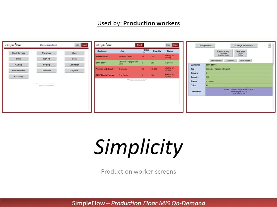 SimpleFlow – Production Floor MIS On-Demand Simplicity Production worker screens Used by: Production workers