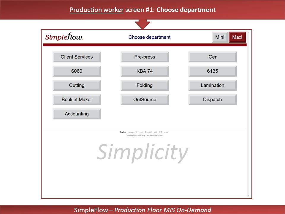 SimpleFlow – Production Floor MIS On-Demand Simplicity Production worker screen #1: Choose department