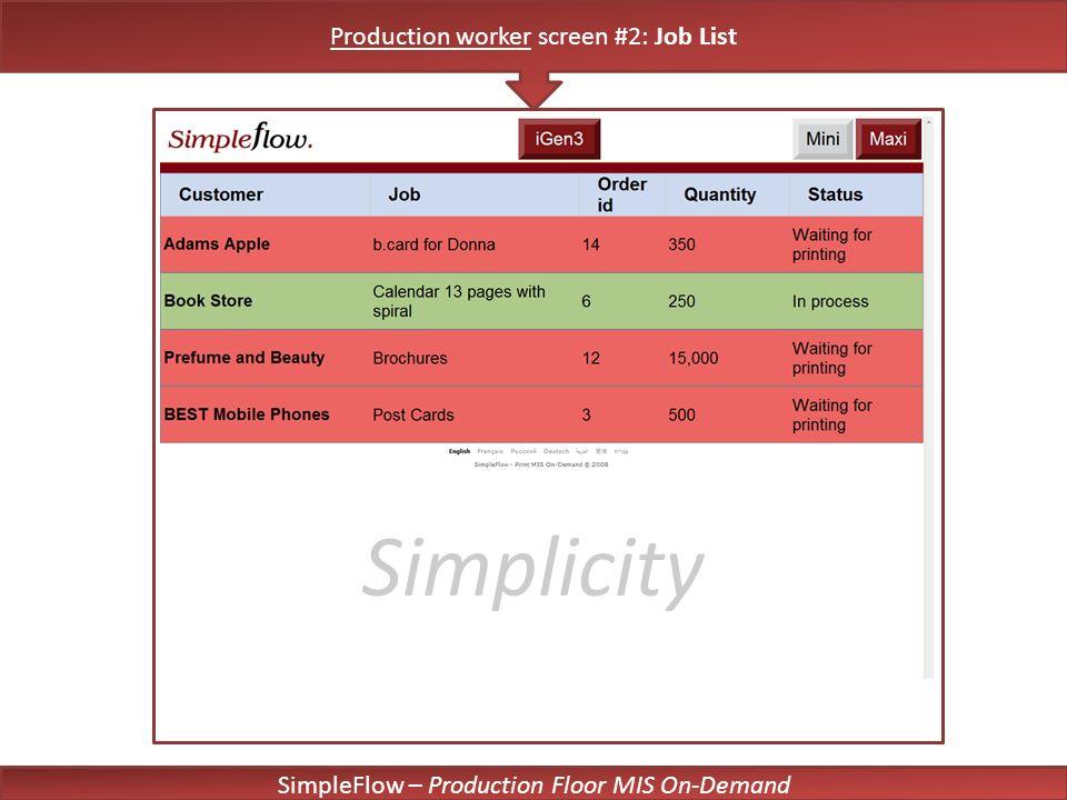 SimpleFlow – Production Floor MIS On-Demand Simplicity Production worker screen #2: Job List