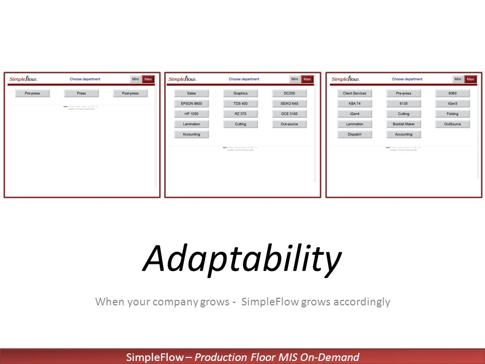 SimpleFlow – Production Floor MIS On-Demand Adaptability When your company grows - SimpleFlow grows accordingly