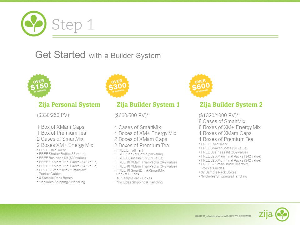 ($330/250 PV) 1 Box of XMam Caps 1 Box of Premium Tea 2 Cases of SmartMix 2 Boxes XM+ Energy Mix FREE Enrollment FREE Shaker Bottle ($8 value) FREE Bu
