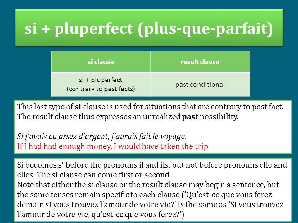 si + pluperfect (plus-que-parfait) si clauseresult clause si + pluperfect (contrary to past facts) past conditional This last type of si clause is use