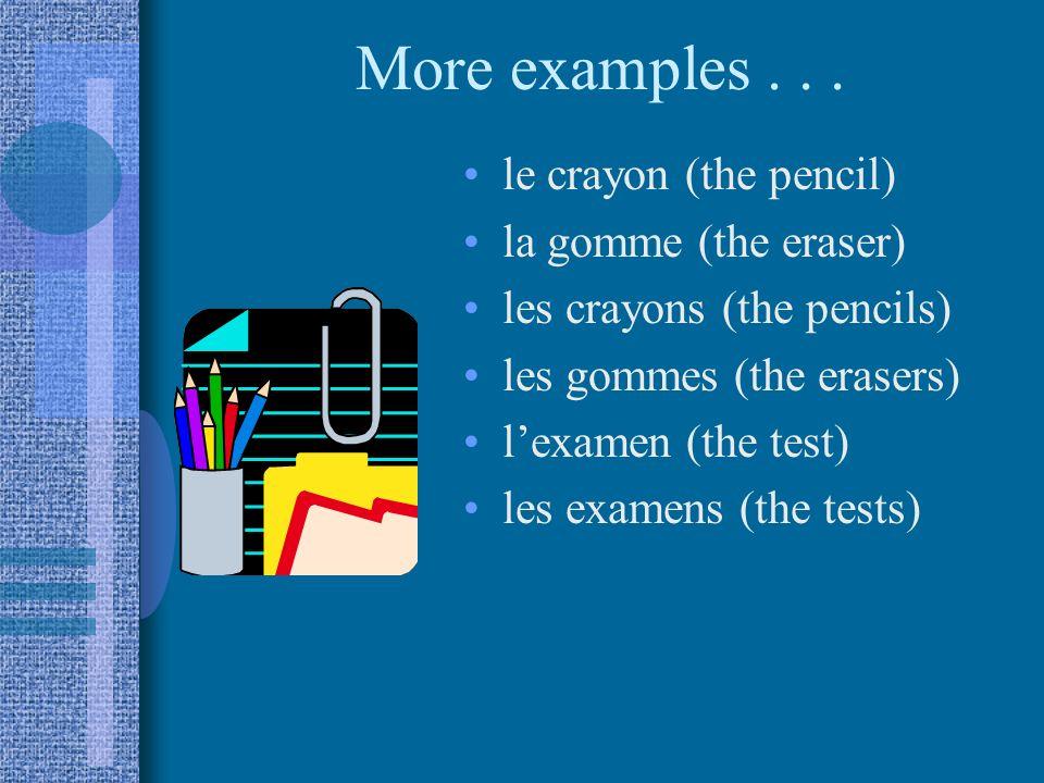 Lets review... le (l) = la (l) = les = male the female the plural the