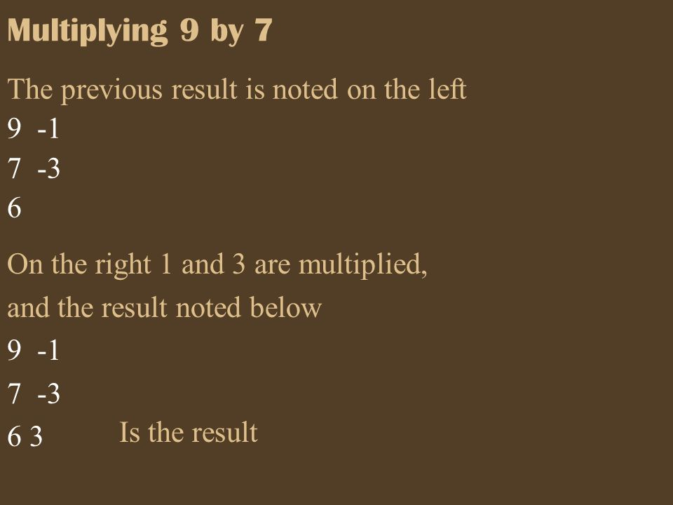 Multiplying 9 by 7 Is the result The previous result is noted on the left 9 -1 7 -3 6 On the right 1 and 3 are multiplied, and the result noted below