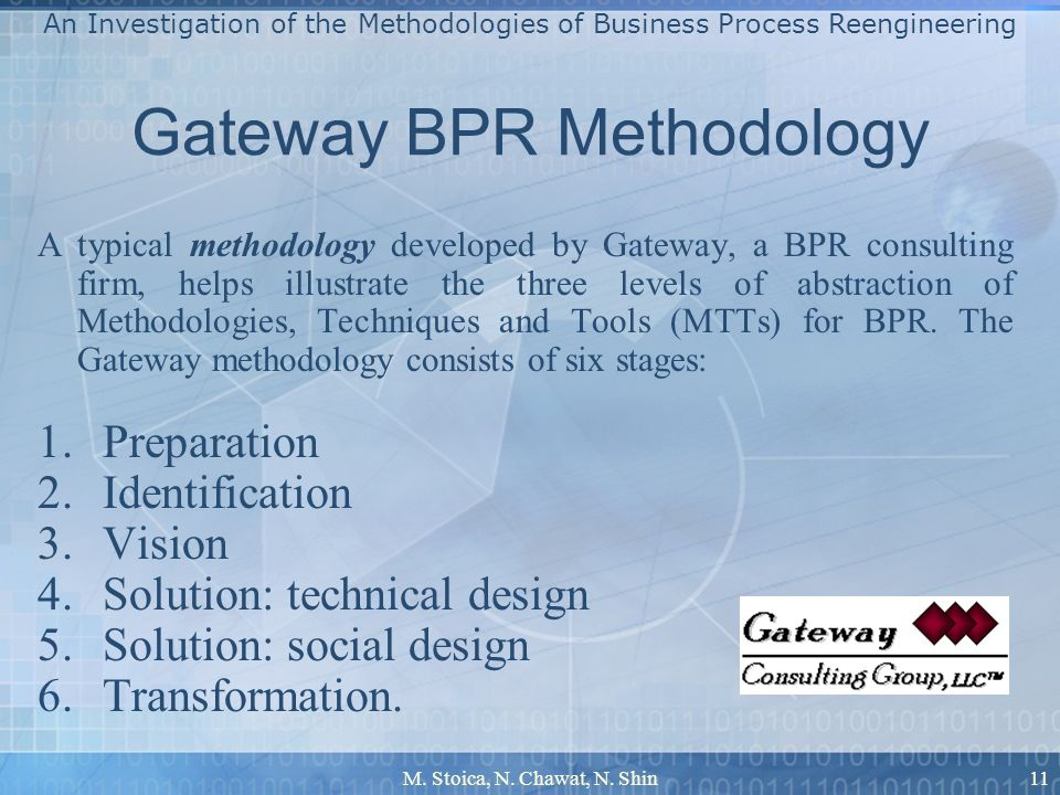 M. Stoica, N. Chawat, N. Shin11 Gateway BPR Methodology A typical methodology developed by Gateway, a BPR consulting firm, helps illustrate the three