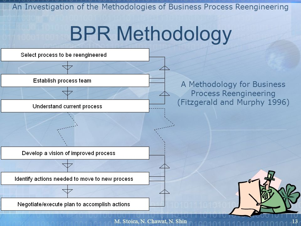 M. Stoica, N. Chawat, N. Shin13 BPR Methodology An Investigation of the Methodologies of Business Process Reengineering A Methodology for Business Pro