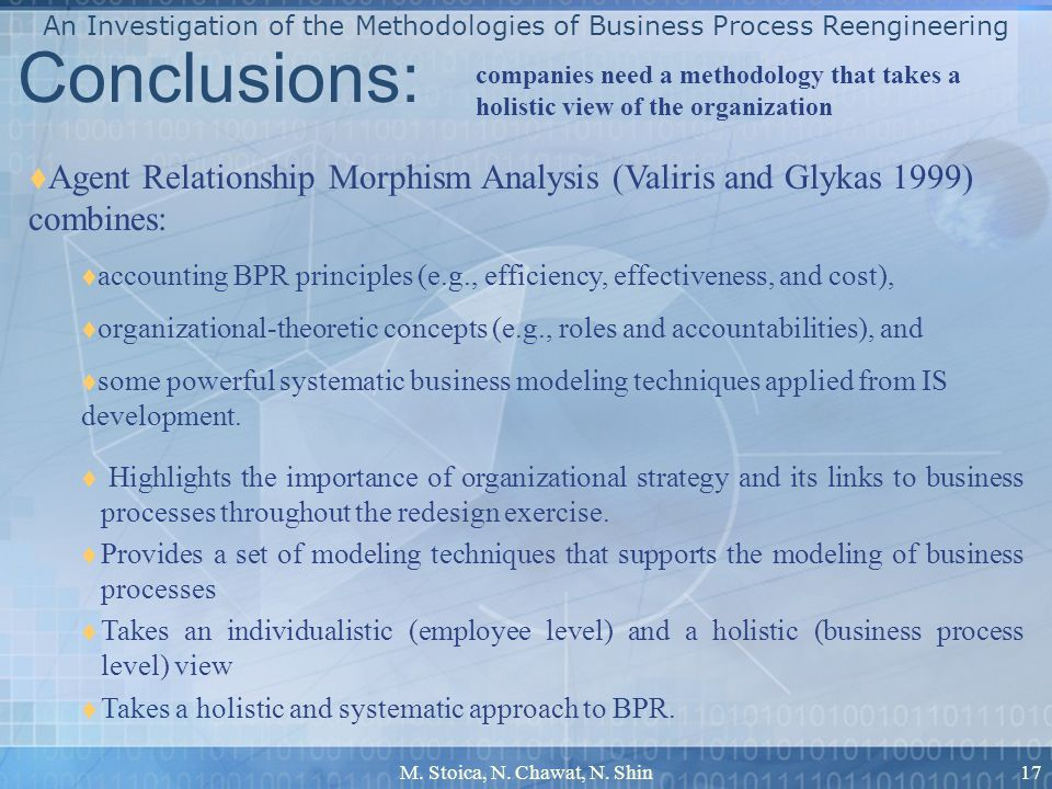M. Stoica, N. Chawat, N. Shin17 Conclusions: Highlights the importance of organizational strategy and its links to business processes throughout the r