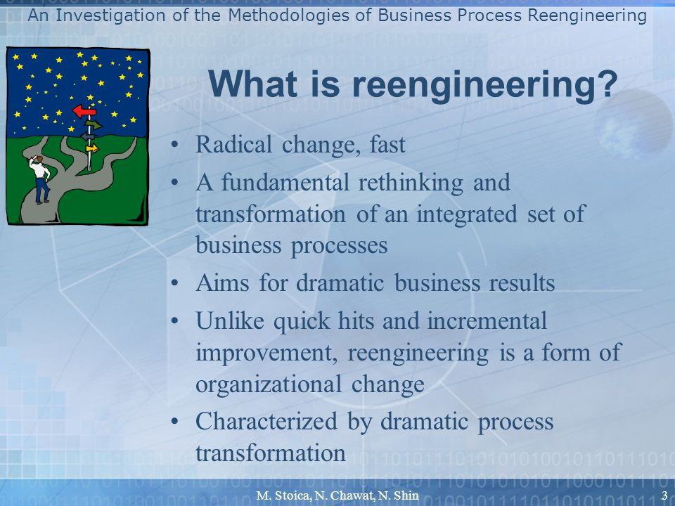 M. Stoica, N. Chawat, N. Shin3 What is reengineering? Radical change, fast A fundamental rethinking and transformation of an integrated set of busines