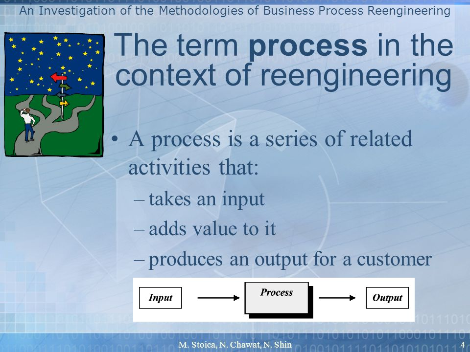 M. Stoica, N. Chawat, N. Shin4 The term process in the context of reengineering A process is a series of related activities that: –takes an input –add