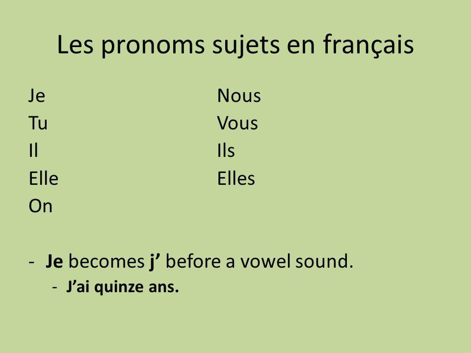 Les pronoms sujets en français JeNous TuVous IlIls ElleElles On -Je becomes j before a vowel sound.