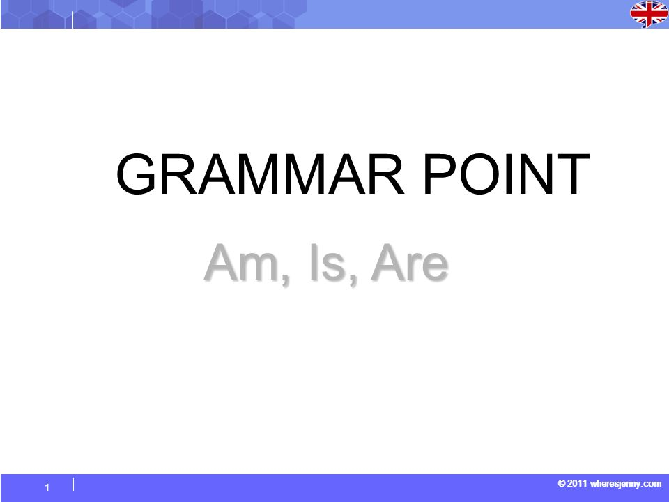 © 2011 wheresjenny.com 1 GRAMMAR POINT Am, Is, Are