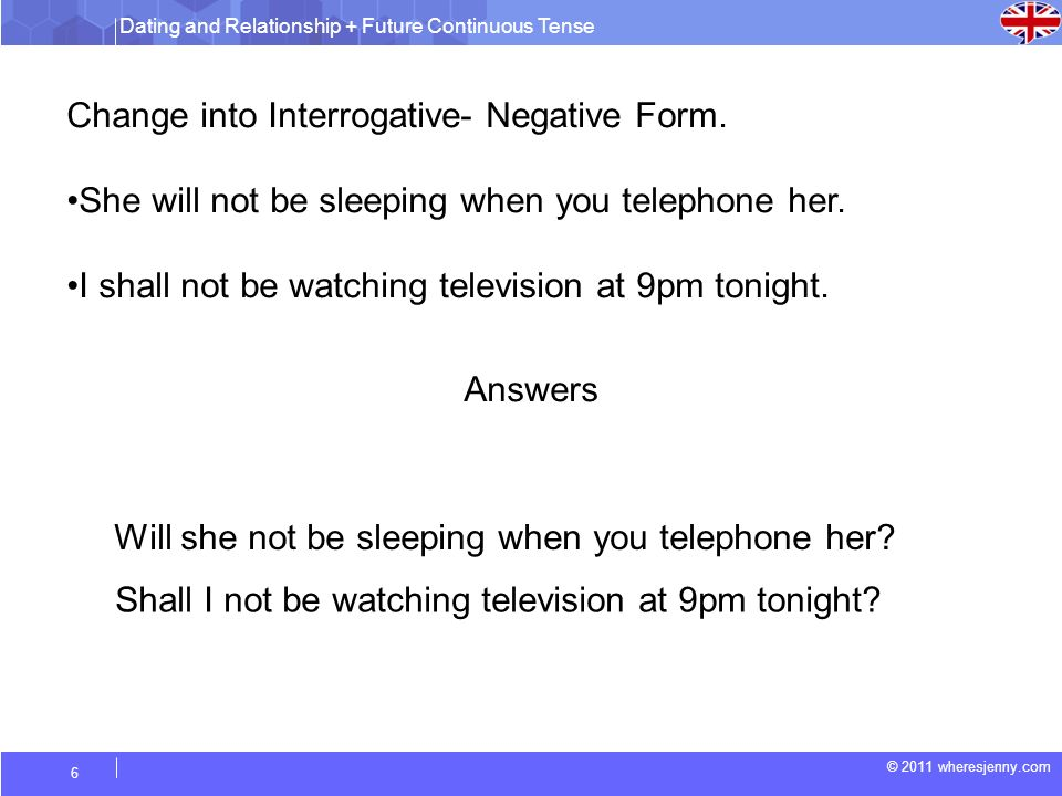 Dating and Relationship + Future Continuous Tense © 2011 wheresjenny.com 6 Change into Interrogative- Negative Form.