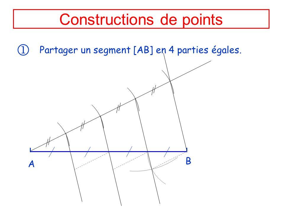 Constructions de points Partager un segment [AB] en 4 parties égales. A B