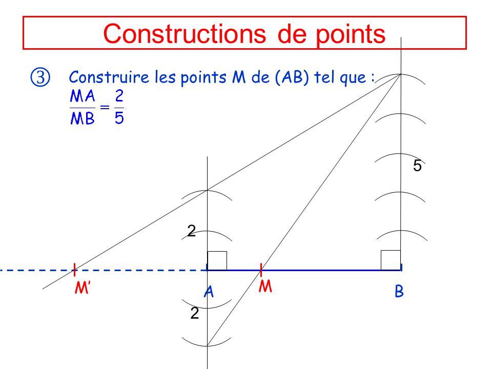 Constructions de points Construire les points M de (AB) tel que : A B M M 2 2 5
