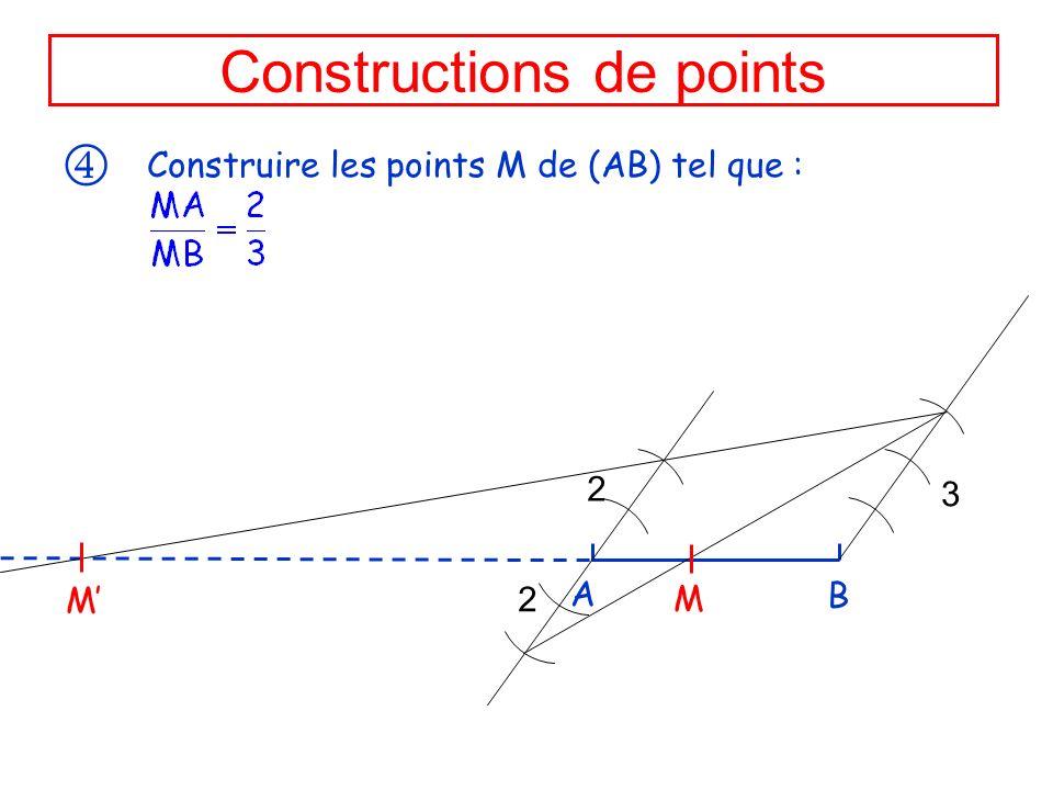 Constructions de points Construire les points M de (AB) tel que : 2 3 A B 2 M M