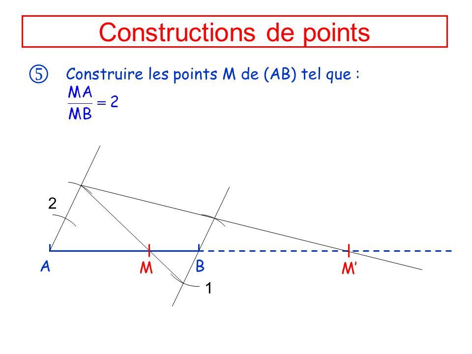 Constructions de points Construire les points M de (AB) tel que : A B M M 2 1