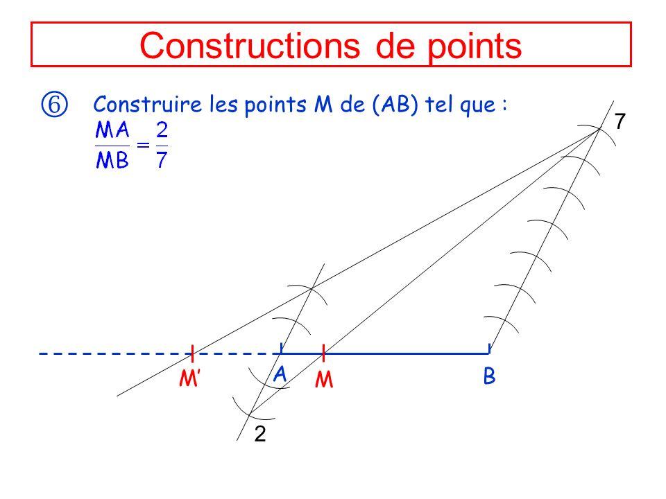 Constructions de points Construire les points M de (AB) tel que : A B 7 2 M M
