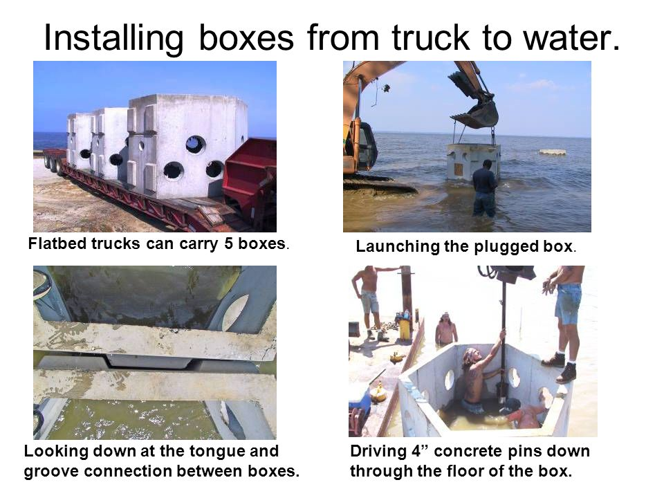 Installing boxes from truck to water. Driving 4 concrete pins down through the floor of the box. Flatbed trucks can carry 5 boxes. Launching the plugg
