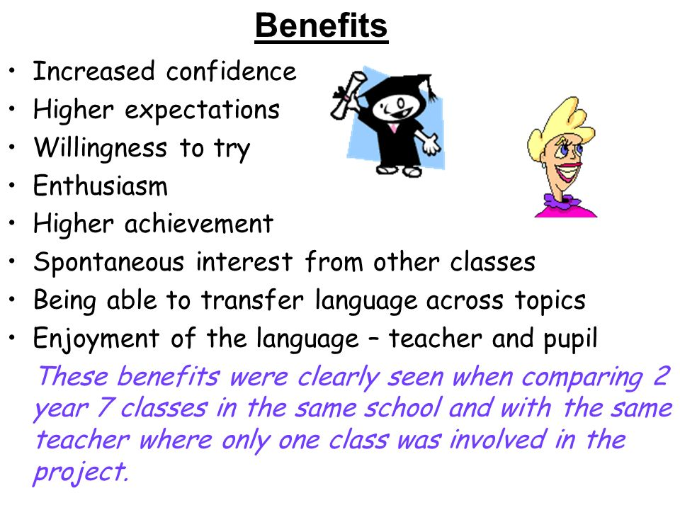 Increased confidence Higher expectations Willingness to try Enthusiasm Higher achievement Spontaneous interest from other classes Being able to transfer language across topics Enjoyment of the language – teacher and pupil These benefits were clearly seen when comparing 2 year 7 classes in the same school and with the same teacher where only one class was involved in the project.