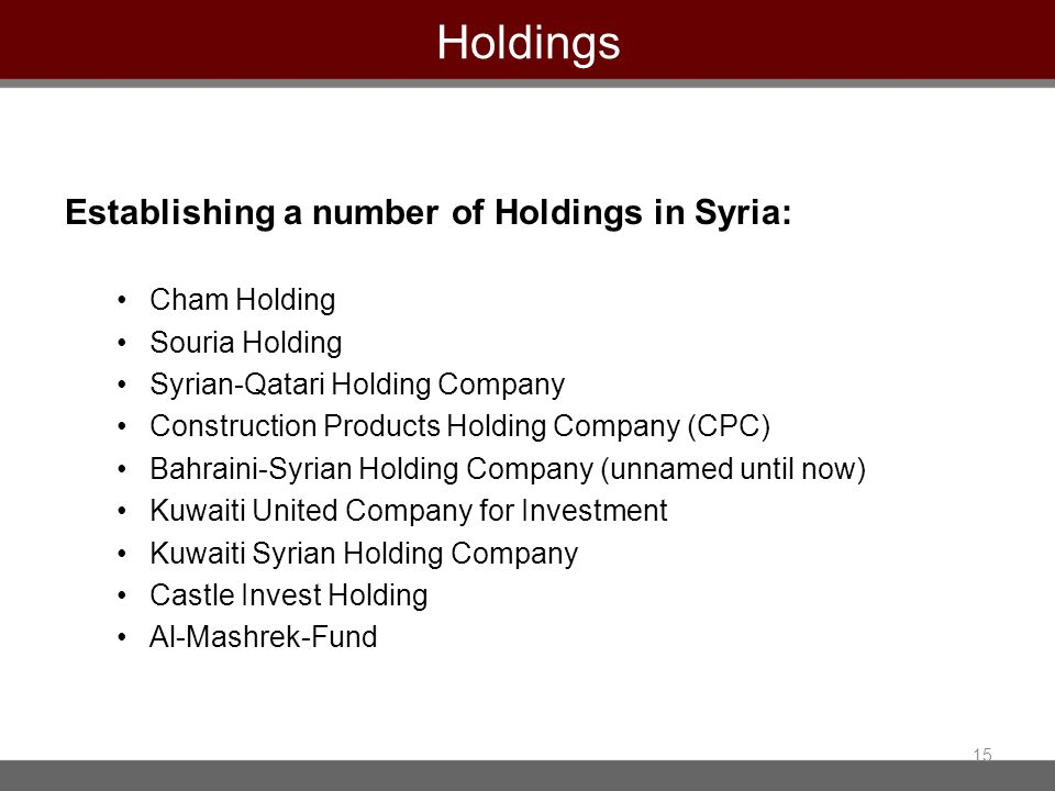 Holdings Establishing a number of Holdings in Syria: Cham Holding Souria Holding Syrian-Qatari Holding Company Construction Products Holding Company (