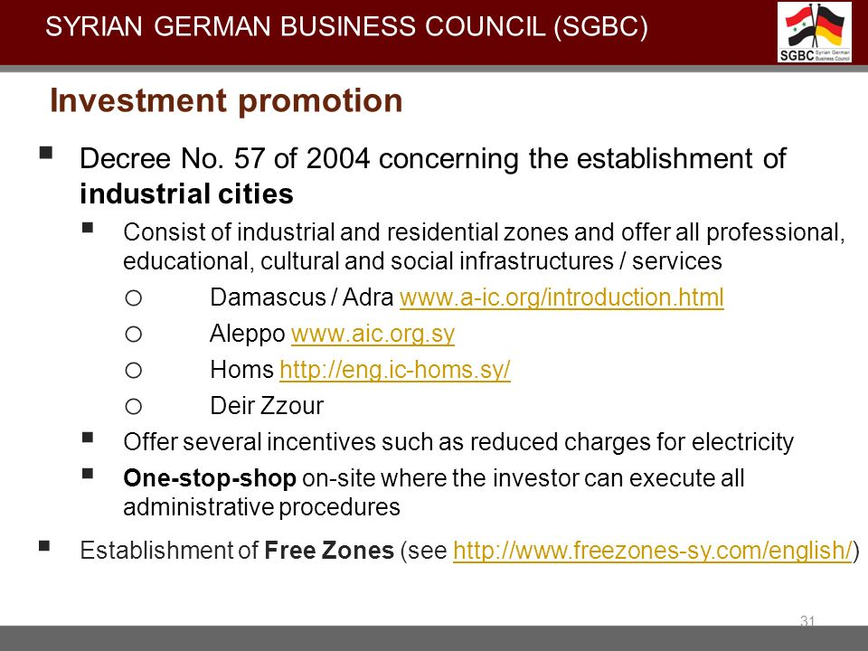 Decree No. 57 of 2004 concerning the establishment of industrial cities Consist of industrial and residential zones and offer all professional, educat