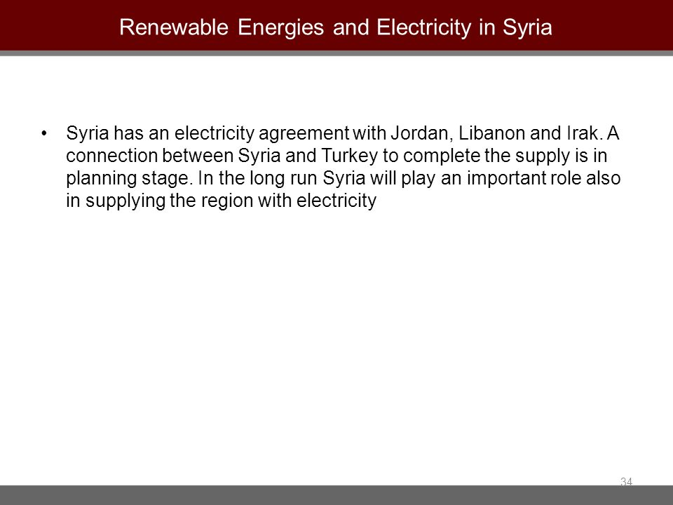 Renewable Energies and Electricity in Syria Syria has an electricity agreement with Jordan, Libanon and Irak. A connection between Syria and Turkey to
