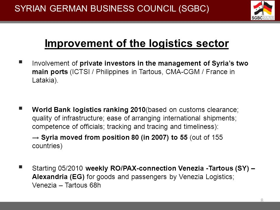 8 Improvement of the logistics sector Involvement of private investors in the management of Syrias two main ports (ICTSI / Philippines in Tartous, CMA