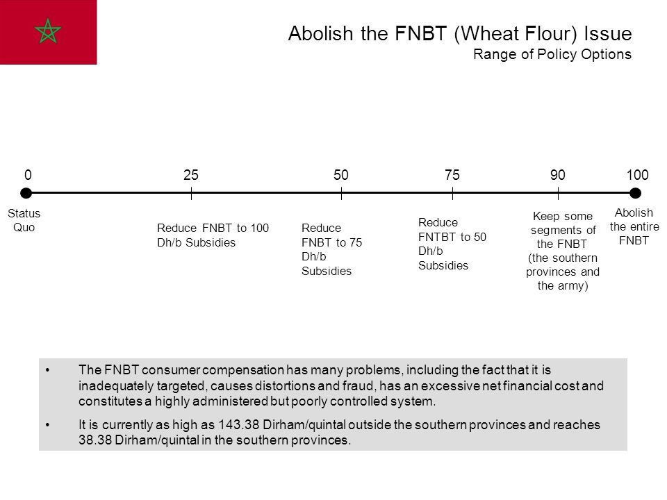 0 90 100 Status Quo Abolish the entire FNBT Keep some segments of the FNBT (the southern provinces and the army) 25 Reduce FNBT to 100 Dh/b Subsidies 50 Reduce FNBT to 75 Dh/b Subsidies 75 Reduce FNTBT to 50 Dh/b Subsidies Abolish the FNBT (Wheat Flour) Issue Range of Policy Options The FNBT consumer compensation has many problems, including the fact that it is inadequately targeted, causes distortions and fraud, has an excessive net financial cost and constitutes a highly administered but poorly controlled system.