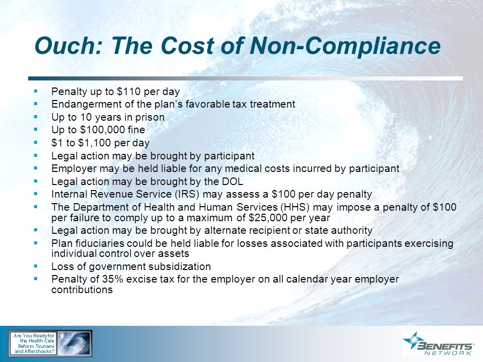 Ouch: The Cost of Non-Compliance Penalty up to $110 per day Endangerment of the plans favorable tax treatment Up to 10 years in prison Up to $100,000