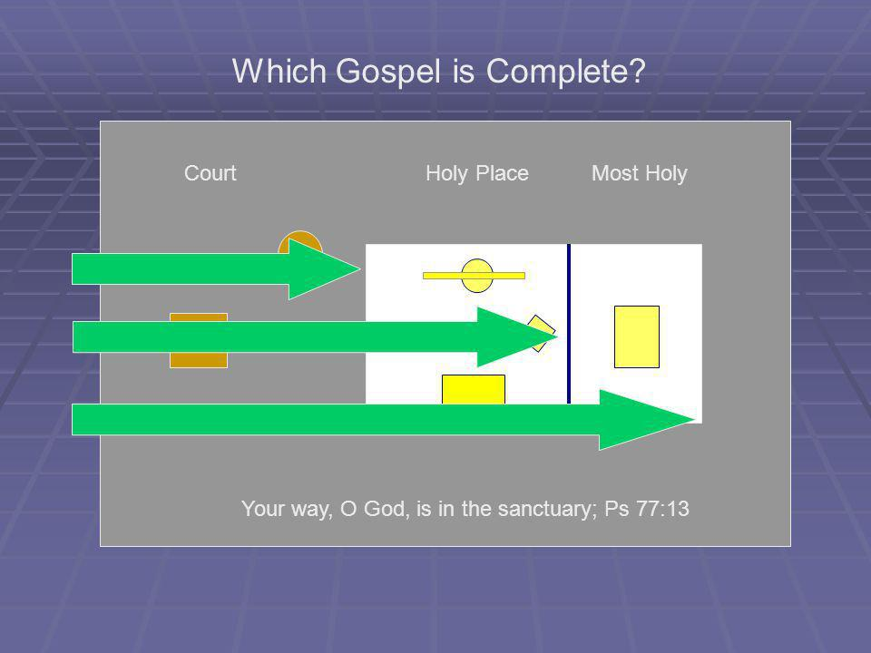 CourtHoly PlaceMost Holy Which Gospel is Complete? Your way, O God, is in the sanctuary; Ps 77:13