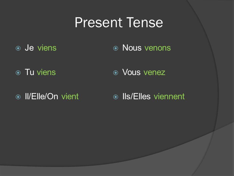 When do you use Venir de.The expression Venir de has two uses.
