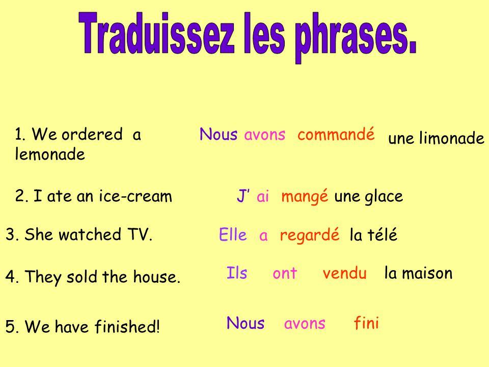 Mets les phrases en français.1.Ive finished my work.
