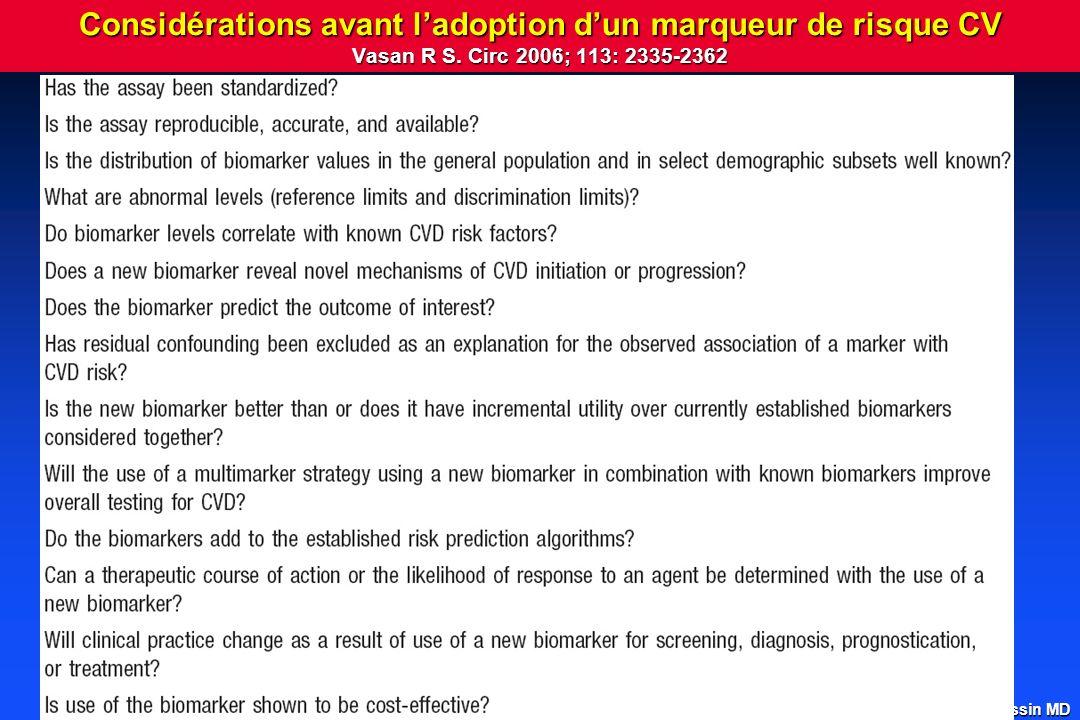 A.Roussin MD Considérations avant ladoption dun marqueur de risque CV Vasan R S.