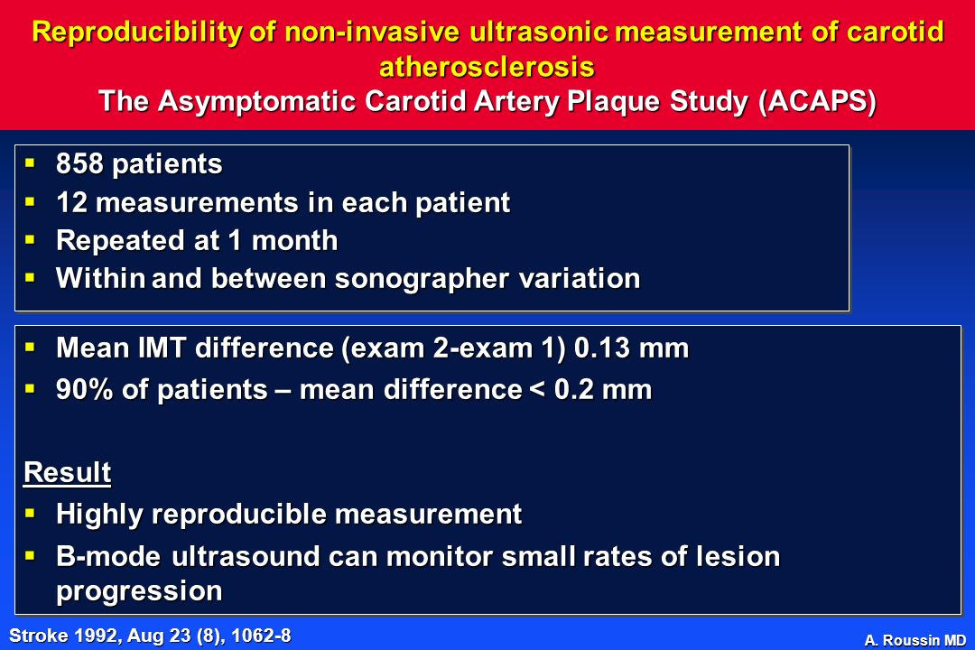 A. Roussin MD Reproducibility of non-invasive ultrasonic measurement of carotid atherosclerosis The Asymptomatic Carotid Artery Plaque Study (ACAPS) 8